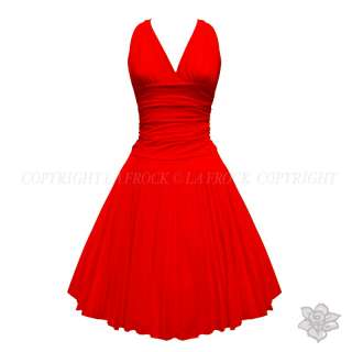 RED MARILYN MONROE 50S COCKTAIL PROM SWING DRESS 8 16