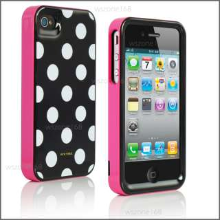 Polka Dots 3in1 Cover Case for Apple iPhone 4 4s iOS5 Screen Protector