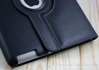 iPad 2 Smart Leather Cover Case Standing 360° Rotating