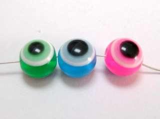 500 Mixed Colour Acrylic Evil Eye Ball Round Beads 10mm