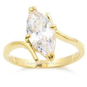 GOLD CZ RINGS   Marquise Cut Gold Plated CZ Engagement Ring Jewelry