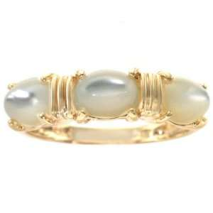 14K Yellow Gold Oval Three Stone Ring Mother of Pearl