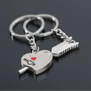 Heart Key Ring Chain Keychain Keyring Keyfob Cute Lover Gift Silver