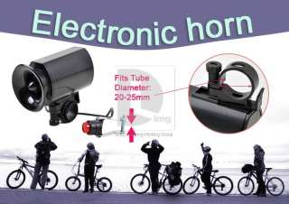 Black Electronic Bicycle Bike Bell 6 Sounds Siren Horn 20~25mm