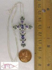 STERLING SILVER Large Amethyst Marcasite Cross Necklace