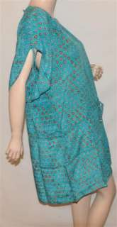 Tolani Anna Turq/Blue Floral silk tunic blouse top
