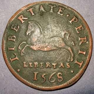 1568 Spanish King Philip II Armored torso, Copper Commemorative Penny