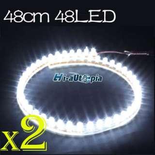 2x48cm white 48 LED Bulb Flexible Car Light Line Strip