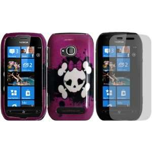 Skull Design Hard Case Cover+LCD Screen Protector for Nokia Lumia 710