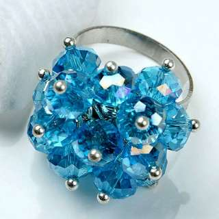 Sky Blue Crystal Adjustable Ring Faceted Bead Size 6