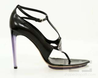 YSL Yves Saint Laurent Black Leather & Purple Lip Sandal Heels Size 39