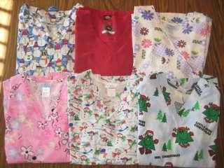 Lot of 6 Large Scrub Tops Christmas Dickies SB Landau Blue Pink