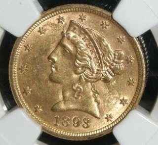 1893 $5 LIBERTY HEAD GOLD HALF EAGLE   NGC MS 62