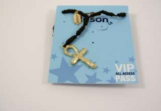 KITSON LA GOLD PLATED ANKH CROSS KNOTTED CORD NECKLACE