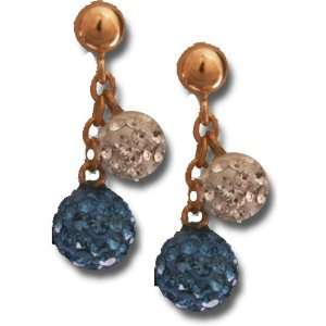 Light Blue and White Crystal Ball Earring Kaylah Designs Jewelry