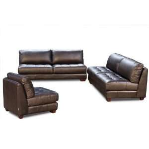 Zen Collection Armless All Leather Tufted Seat Sofa Loveseat