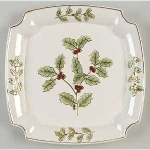 Holly And Berry Gold 12 Square Serving Platter, Fine China Dinnerware