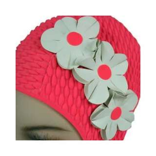 : Pink W/White Flowers Vintage Style Latex Swim Bathing Cap: Clothing