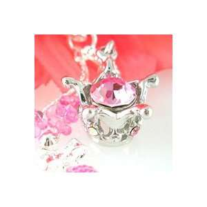 3D Crown with Big Pink Crystal Cell Phone Charm Strap