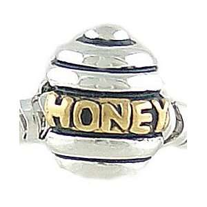 Sterling Silver & 14K Gold Plate HONEY BEE HIVE BEAD fits