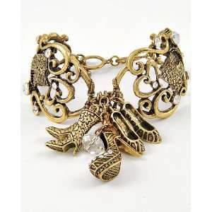 Link Bracelet w/ Stiletto & High Heel Shoe Charm & Rhinestone Accents