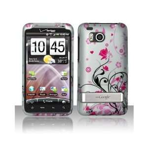 Pink Flower Design Rubberized Feel Snap On Protector Hard
