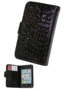 BLACK  Crocodile Leather Wallet Case Cover for iPhone 4