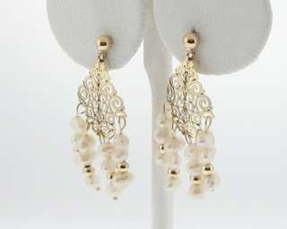 White Pearls Solid 14k Yellow Gold Dangle Earrings