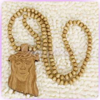 Wooden Jesus piece Christ Rosary God Pendant Necklace round beads