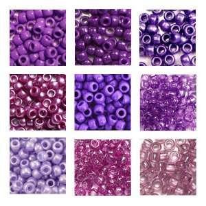 Purple Passion Plastic Pony Bead Variety Pack, 9 Colors