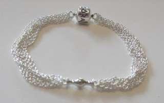 Authentic Pandora Silver Multi Strand One 1 Clip bracelet 17cm 591701