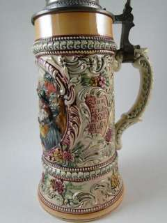 Antique German Art Pottery Beer Stein Tankard Vintage Old 1/2 Liter