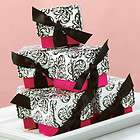Hot Pink Black White Wedding Favor Boxes Bridal Shower Favors Ribbon