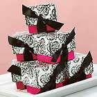 Hot Pink Black White Wedding Favor Boxes Bridal Shower Favors Ribbon