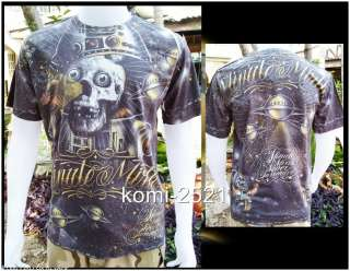 Space Skull Alien UFO Star Tattoo Rock Skate Punk Biker Size M
