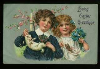 071111 LOVELY TUCK EASTER POSTCARD BOY GIRL HOLD RABBITS