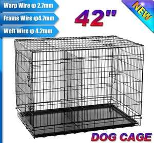 NEW 3 Doors 42 Medium Folding Metal Dog Crate Cage Pet Kennel With