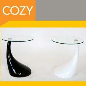 Modern Round Black White Glass Top Coffee or End Table