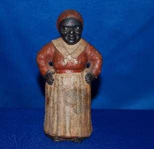 Folk Art Aunt Jamima Mammy Cast Iron Bank   Gorgeous Original State