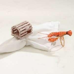 Coastal Lobster and Trap Napkin Rings   Set of 4