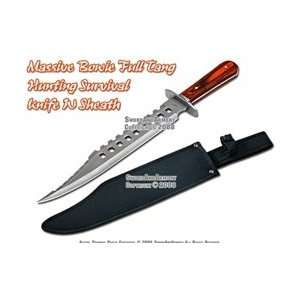 Bowie Full Tang Hunting Survival Knife With Sheath Sports & Outdoors