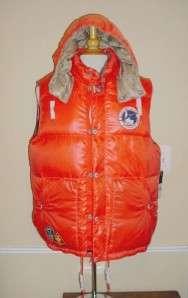 Ralph Lauren Polo Down Puffer Vest Sun Valley Orange Ski Club RT$298