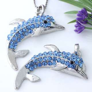 Silver Plated Blue Crystal Dolphin Bead Charm Pendant