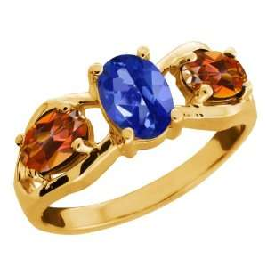 05 Ct Oval Sapphire Blue Mystic Topaz Gold Plated Sterling Silver Ring