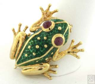 18K GOLD .20CT CABOCHON RUBY EYED GREEN ENAMEL FROG PIN/BROOCH