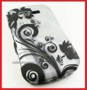 FOR PANTECH CAPER TXT8035 BLACK FLOWERS HARD COVER CASE