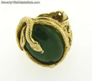 Antique Art Nouveau 14k Gold Yellow Jade Snake Ring