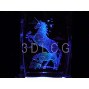 Unicorns MC 3D Laser Etched Crystal