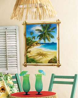 Tropical Beach Island Window Wall Mural Sticker Ocean Palm Tree
