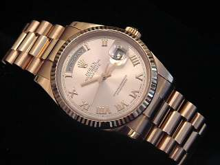 MENS 18K PINK ROSE GOLD ROLEX DAY DATE PRESIDENT WATCH
